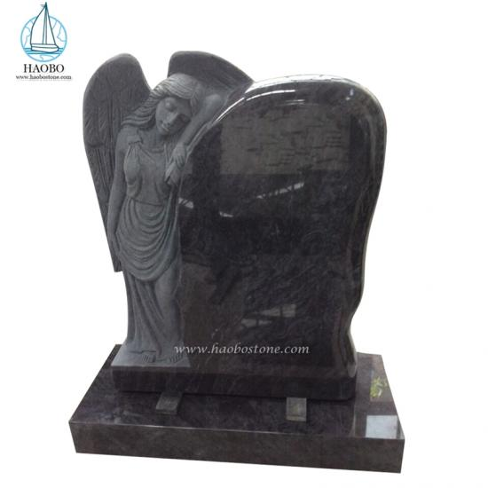 Bahama Blue Standing Angel Carved Headstone