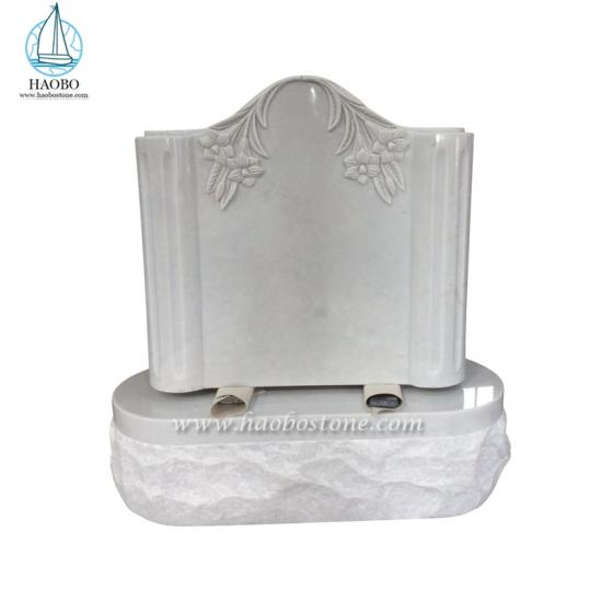 Carrara White Serp Top Headstone