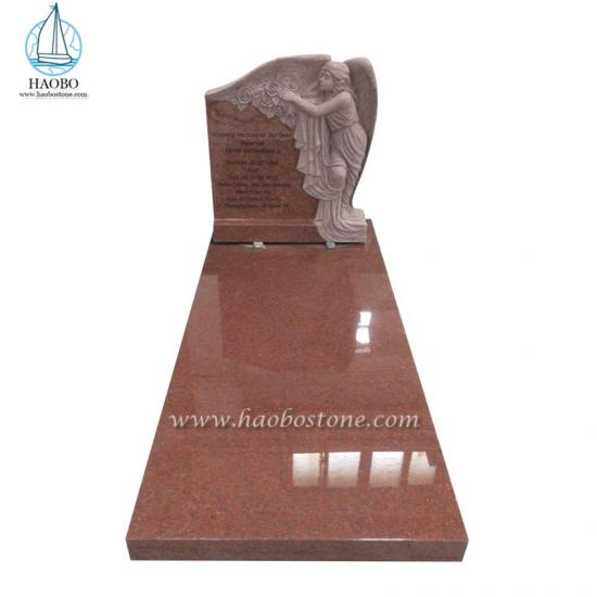 India Red Granite Angel Wings Carving Headstone