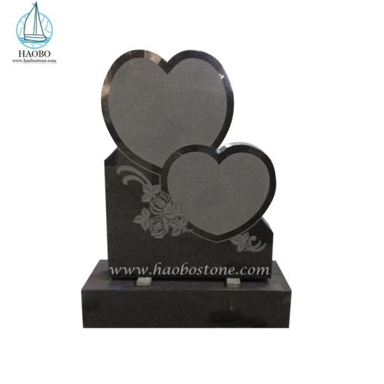 Double Heart with Flower Engraved Upright Headstone