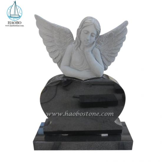 Black Granite Sleeping Angel With Heart Memorial Headstone