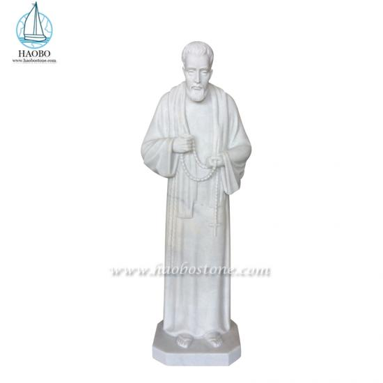 White Marble Saint Priest Statue