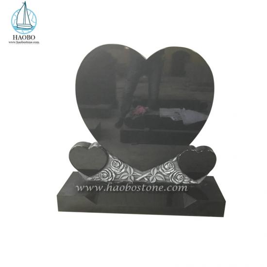 Granite Heart Shaped Rose Carved Headstone