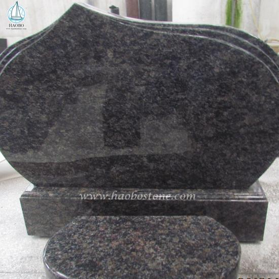 Natural Granite Saphire Brown Simple Design Funeral Gravestone