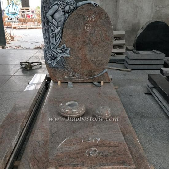 Columbo Juparana Granite Angel Tombstone