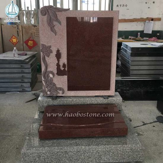 Chineses Style Red Granite Funeral Tombstone