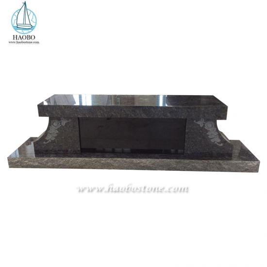 Black Granite Flower Engraved Bench