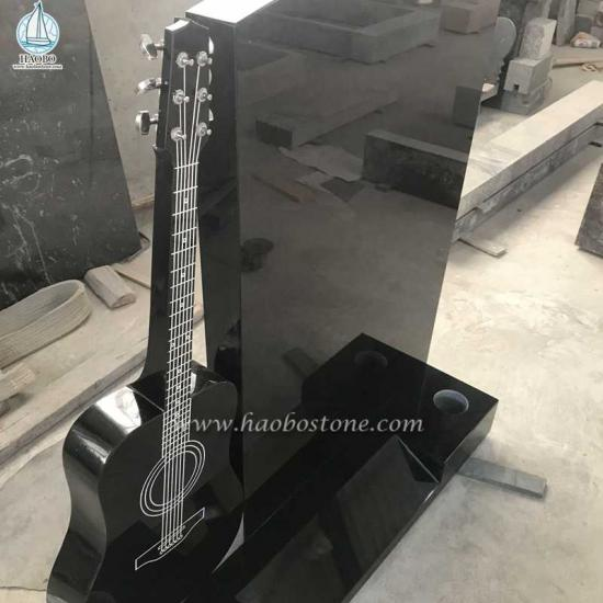 Guitar Carved Cemetery Tombstone