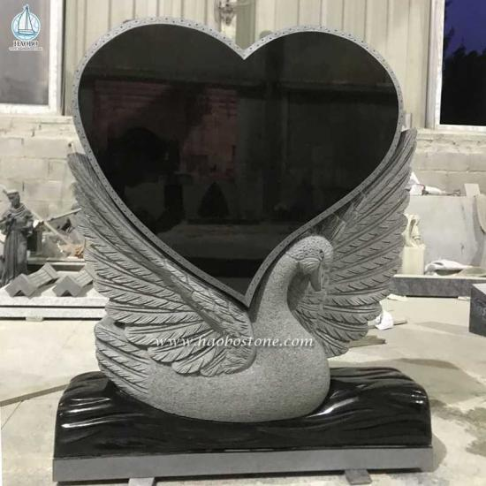 Heart Shaped Swan Carved Tombstone