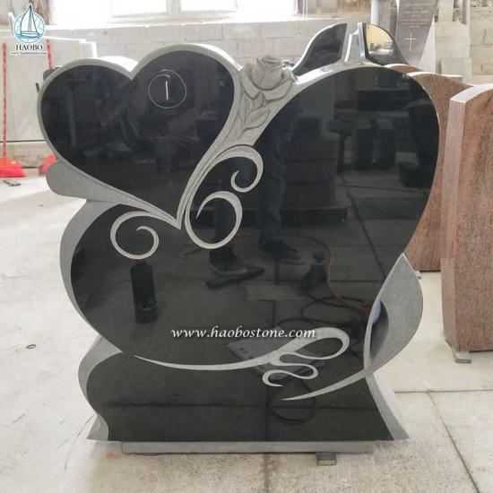 Black Granite Heart Rose Headstone
