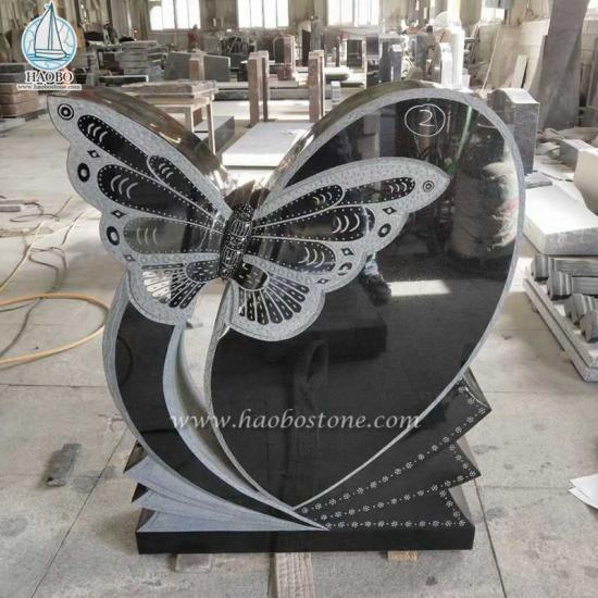 Black Granite Butterfly Carved Headstone