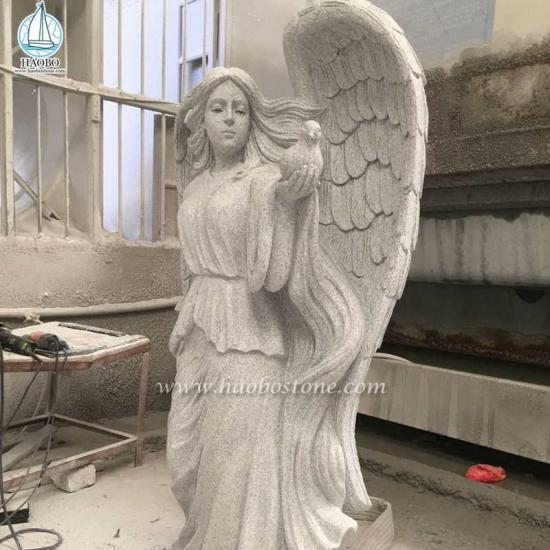 Granite Angel Holding Dove Statue