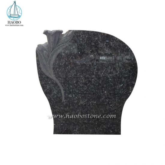 Blue Pearl Granite Lily Carved Headstone​