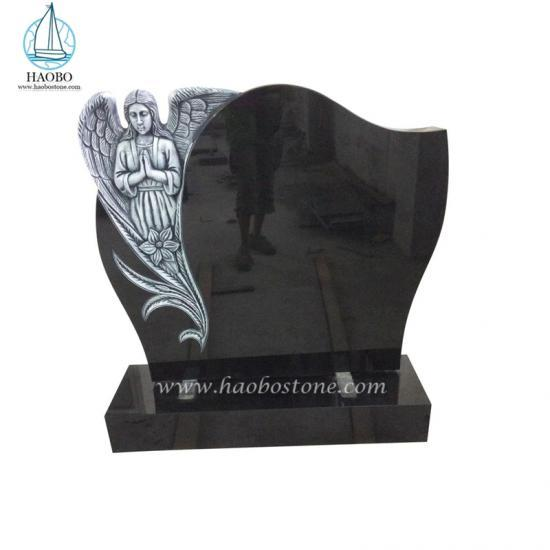 Black granite angel carving tombstone